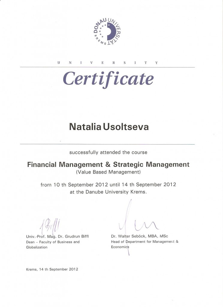 Certificate Financial & Strategic Management