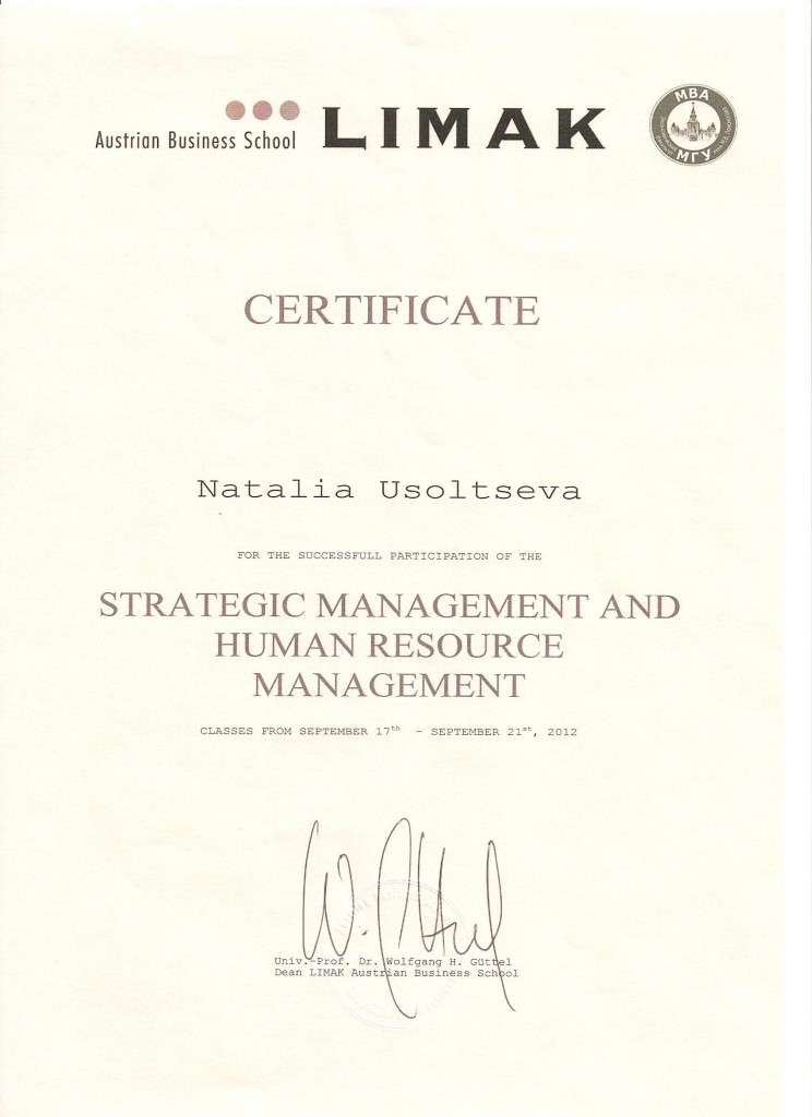 Certificate Strategic Management & Human Resource Management